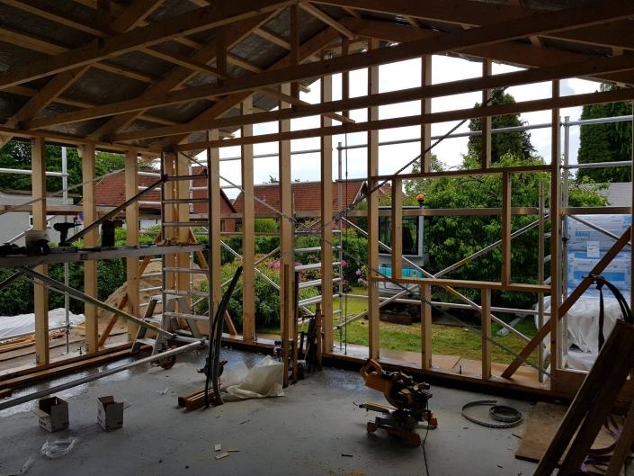 Trækonstruktion til en tilbygning