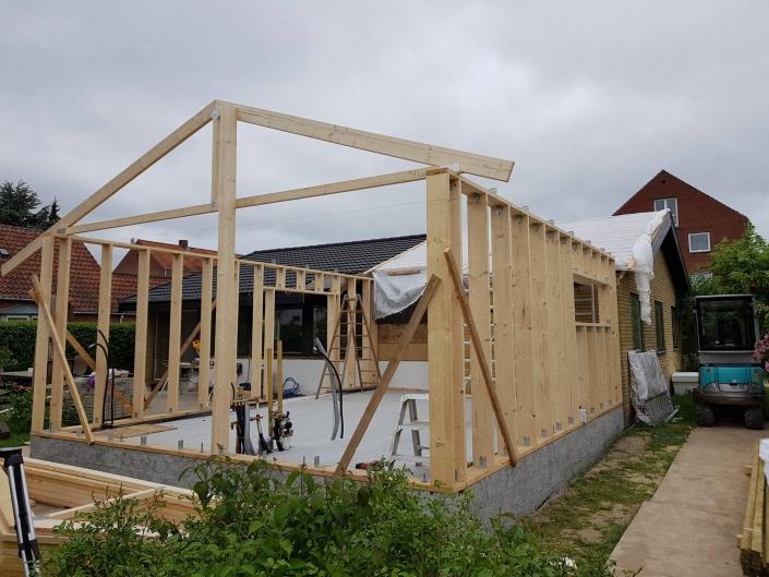 Trækonstruktion til tilbygning
