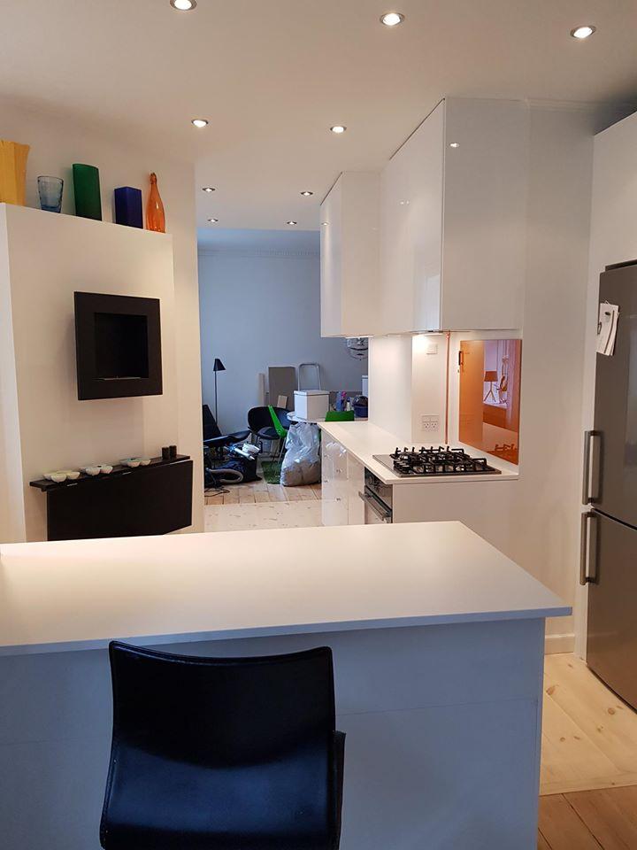 Køkken i forbindelse med renovering af lejlighed